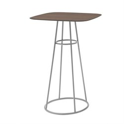 Domitalia Barrique Pub Table in Satinated Aluminum and Wild Oak