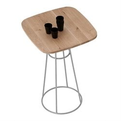 Domitalia Barrique Pub Table in Satinated Aluminum and Walnut
