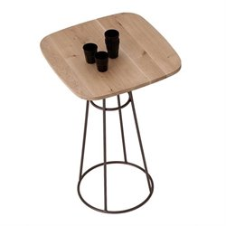 Domitalia Barrique Pub Table in Bronze and Wild Oak