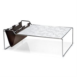 Domitalia Bijou Coffee Table in White Glass Pattern