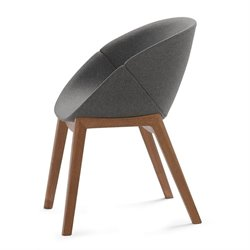 Domitalia Coquille-L Egg Chair in Walnut