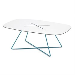 Domitalia Cross Rectangular Coffee Table in Turquoise