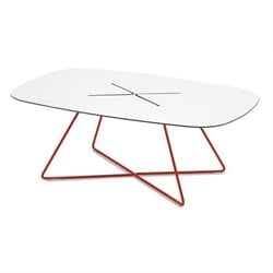 Domitalia Cross Rectangular Coffee Table in Red
