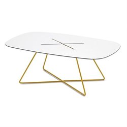 Domitalia Cross Rectangular Coffee Table in Mustard