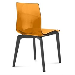 Domitalia Gel Dining Chair in Transparent Orange and Anthracite
