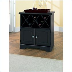 Homestar Lane Furniture 1 Shelf Wine Cabinet with Bottle Storage in Black