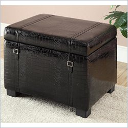 Homestar Inspirations by Broyhill Faux Leather Storage Ottoman in Black Crocodile