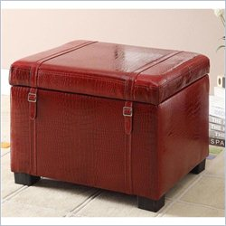 Homestar Inspirations by Broyhill Faux Leather Storage Ottoman in Red Crocodile