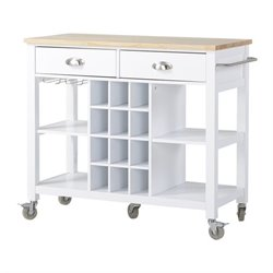 Homestar Wide Kitchen Island Cart in White