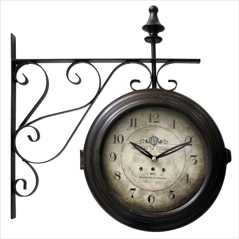 Yosemite Double Sided Black Frame Wall Clock