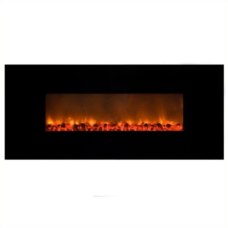 Yosemite Carbon Flame Wall-Mount Electric Fireplace in Black