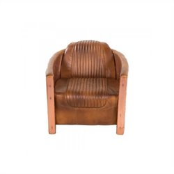 Yosemite Accent Chair in Aged Copper with Brown Leather
