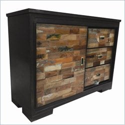 Yosemite Sideboard in Black Metal with Hand Painted Mango Blocks