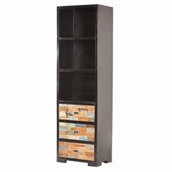Yosemite Bookcase in Black Metal with Hand Painted Mango Blocks