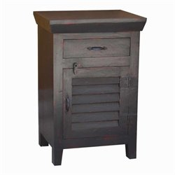 Yosemite Shutter Door Accent Side Chest in Black with Red Rub