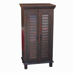 Yosemite Shutter Door Storage Cabinet in Black with Red Rub
