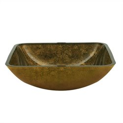 Yosemite Antique Gold Square Glass Basin