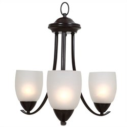 Yosemite Home Decor Mirror Lake 3 Lights Chandelier with White Etched Glass
