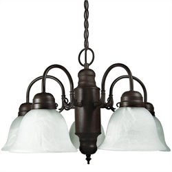 Yosemite Home Decor Manzanita 5 Lights Chandelier with Shade in Dark Brown