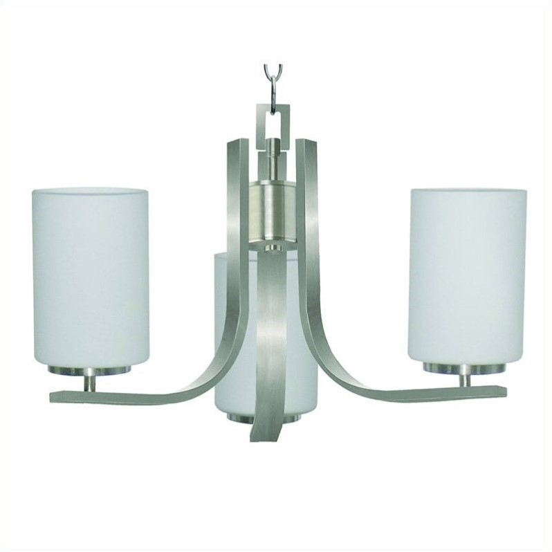 Panorama Trail 3 Light Chandelier in Satin Steel with Dove White Glass