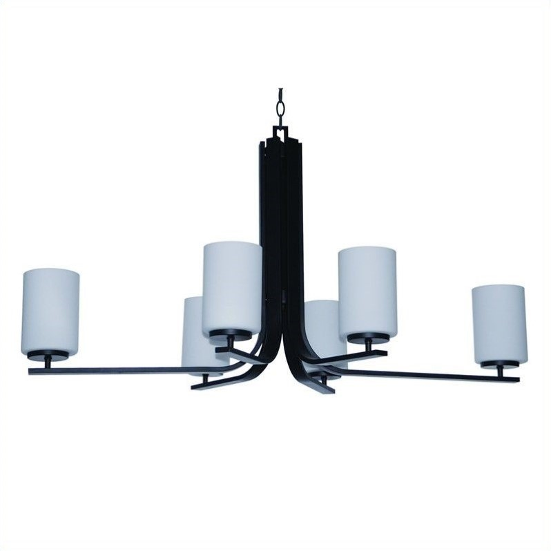 Panorama Trail 6 Light Chandelier in Ebony Bronze with Dove White Glass