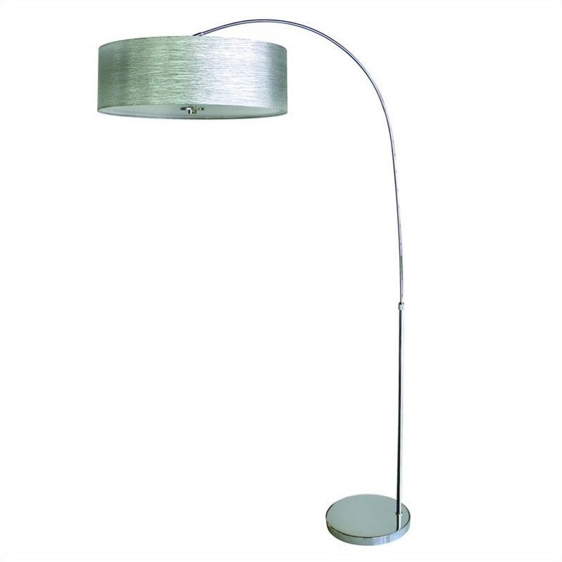 Yosemite home decor 1 light arc floor lamp in chrome with star lights weave shade pfl128sw ch - Arc floor lamp shade ...