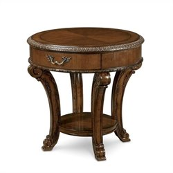 A.R.T. Furniture Old World Round End Table in Warm Pomegranate