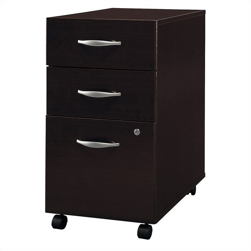 Bush Business Furniture Series C 3Dwr Mobile Pedestal in Mocha Cherry