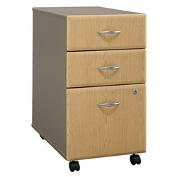 Bush Business Furniture Series A 3Dwr Mobile Pedestal in Light Oak