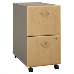Bush Business Furniture Series A 2Dwr Mobile Pedestal in Light Oak