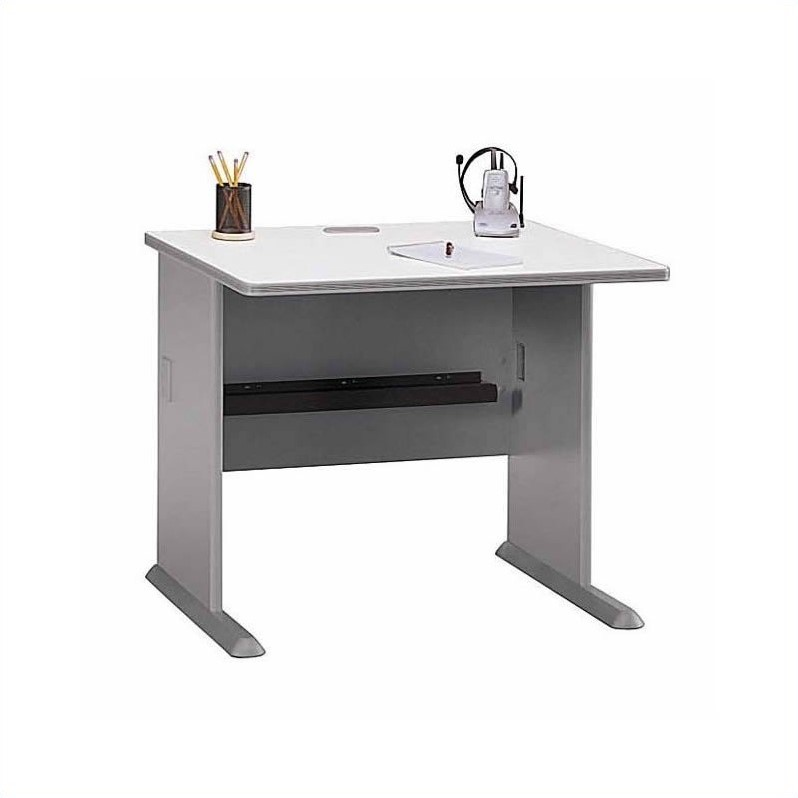 Bush BBF Series A 8-Piece T-Shape 2-Person Workstation Desk Set in Pewter