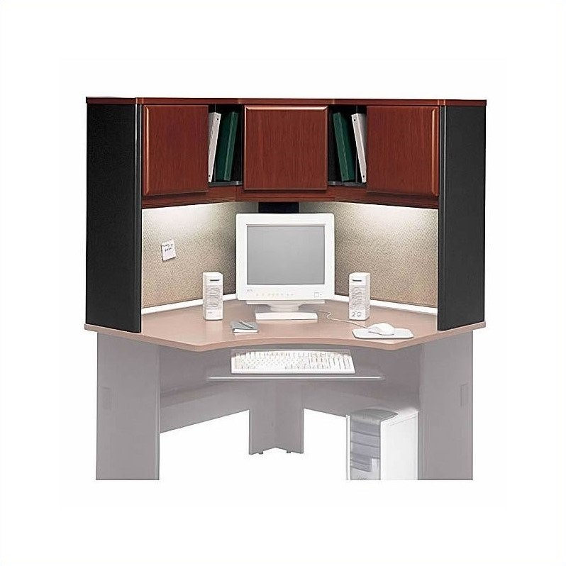 Bush Business Furniture Series A Corner Desk with Hutch Hansen Cherry