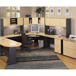 Bush BBF Series A U-Shape Wood Home Office Suite in Beech and Grey