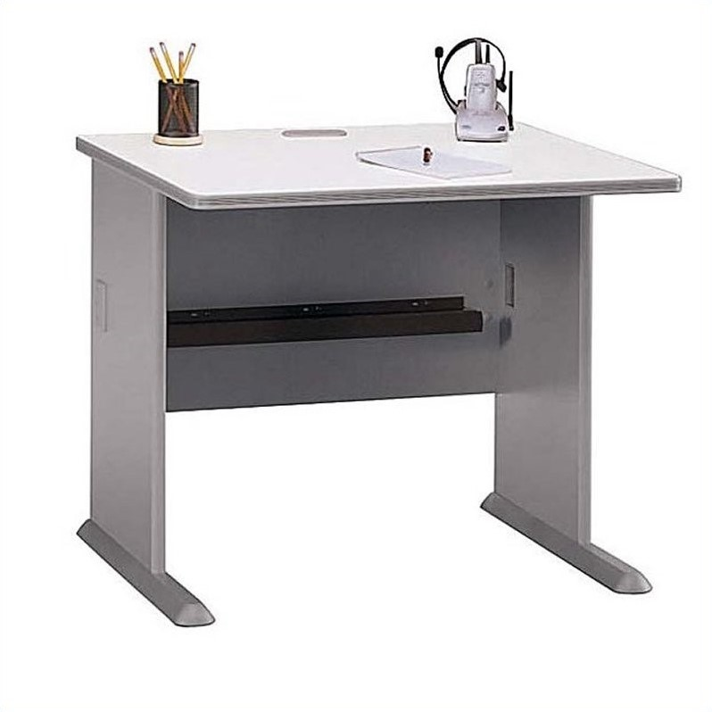 Bush Business Series A Corner Cubicle Set in White Spectrum and Pewter