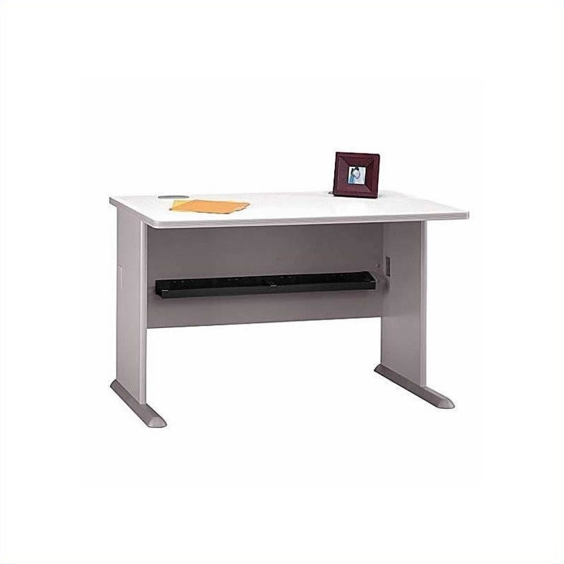 Bush BBF Series A 8-Piece 2-Person Workstation Desk Set in Pewter