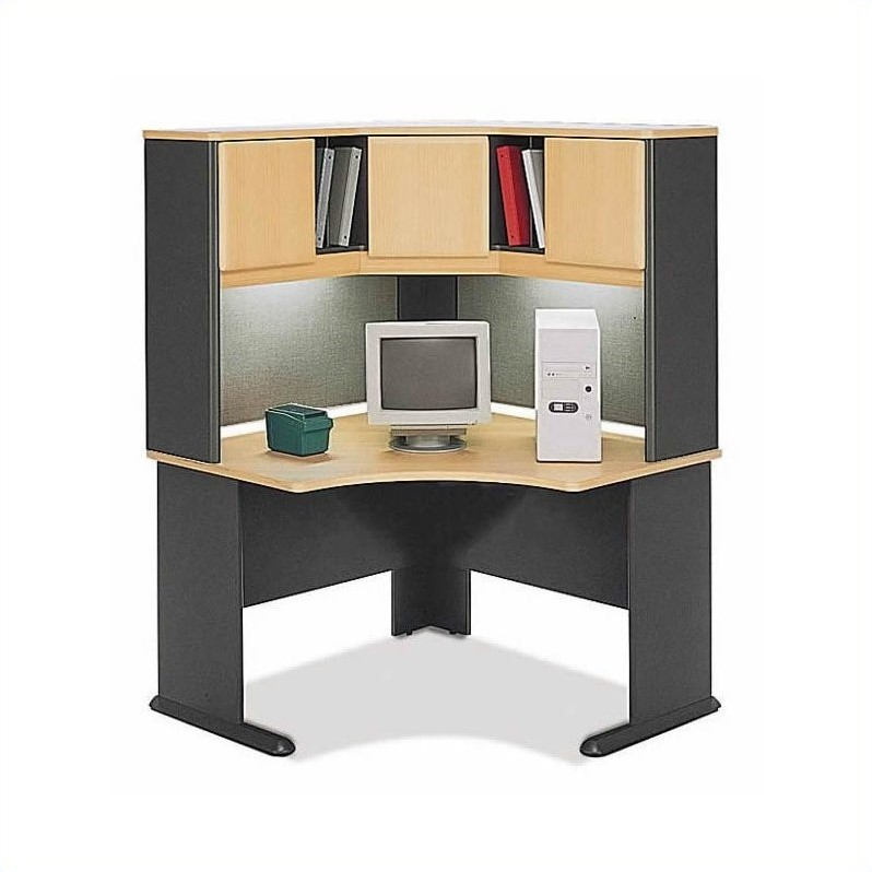 Bush BBF Series A 28-Piece Computer Desk Workstation Cubicle Set in Beech