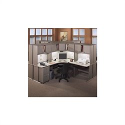 Bush BBF Series A 28-Piece Computer Desk Cubicle Set in Light Oak
