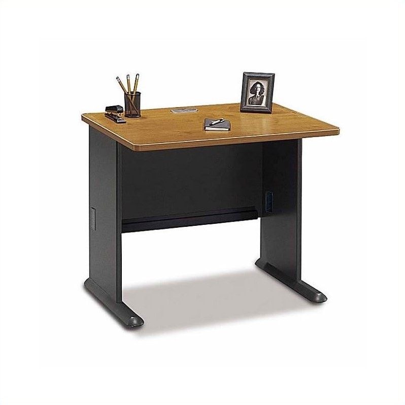 Bush BBF Series A 6-Piece 2-Person Workstation Desk Set in Natural Cherry