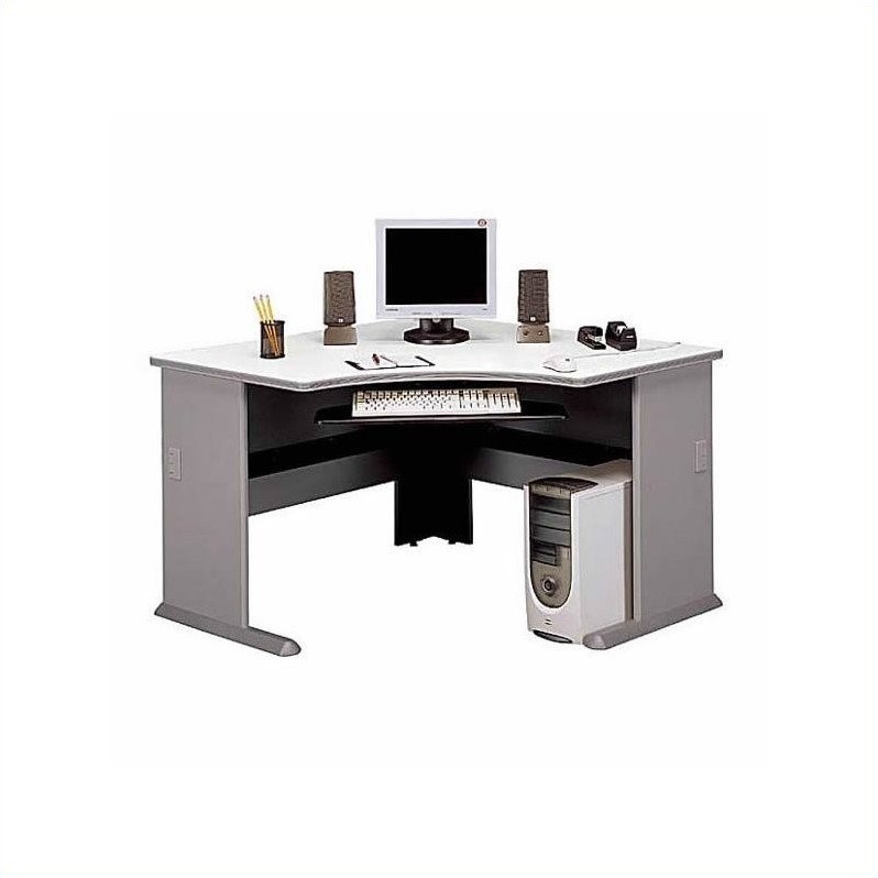 Bush BBF Series A 12-Piece T-Shape 4-Person Workstation in Pewter