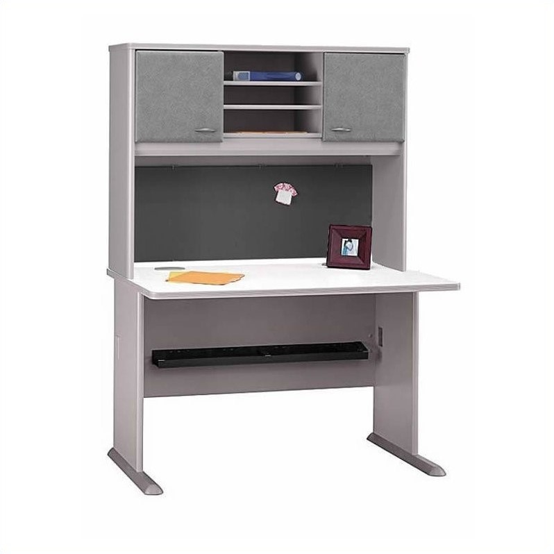 Bush BBF Series A 5-Piece U-Shape Right Bow-Front Corner Desk in Pewter