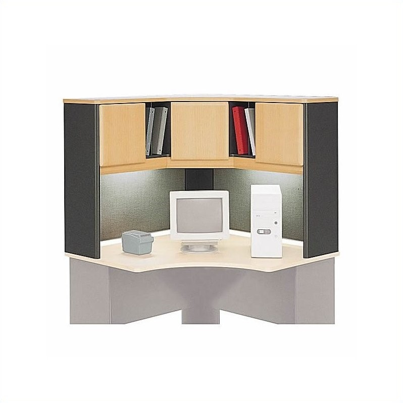 Bush BBF Series A 4-Piece Right-Hand U-Shape Desk with Storage in Beech