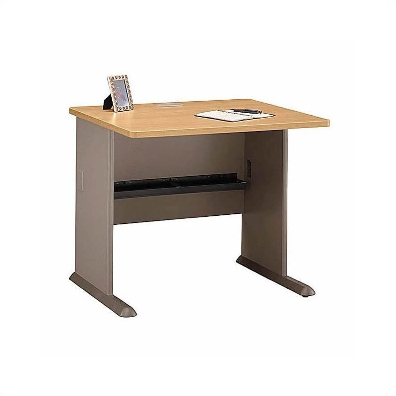 Bush BBF Series A 5-Piece U-Shape Bow-Front Computer Desk in Light Oak