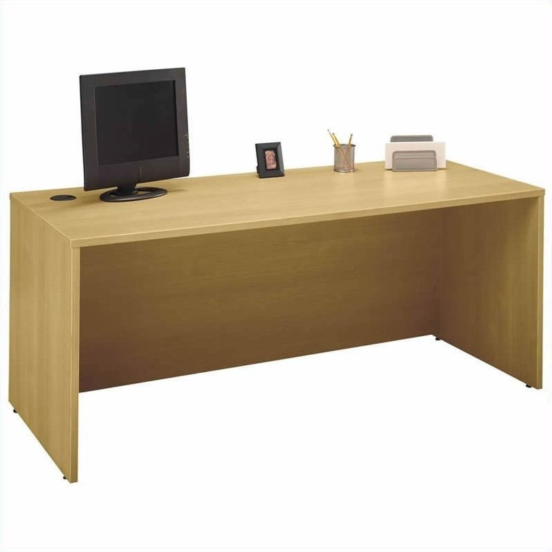 Bush BBF Series C 4-Piece L-Shape Desk with File Cabinets in Light Oak