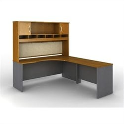 Bush BBF Series C 3-Pc. Right-Hand Corner Computer Desk in Natural Cherry
