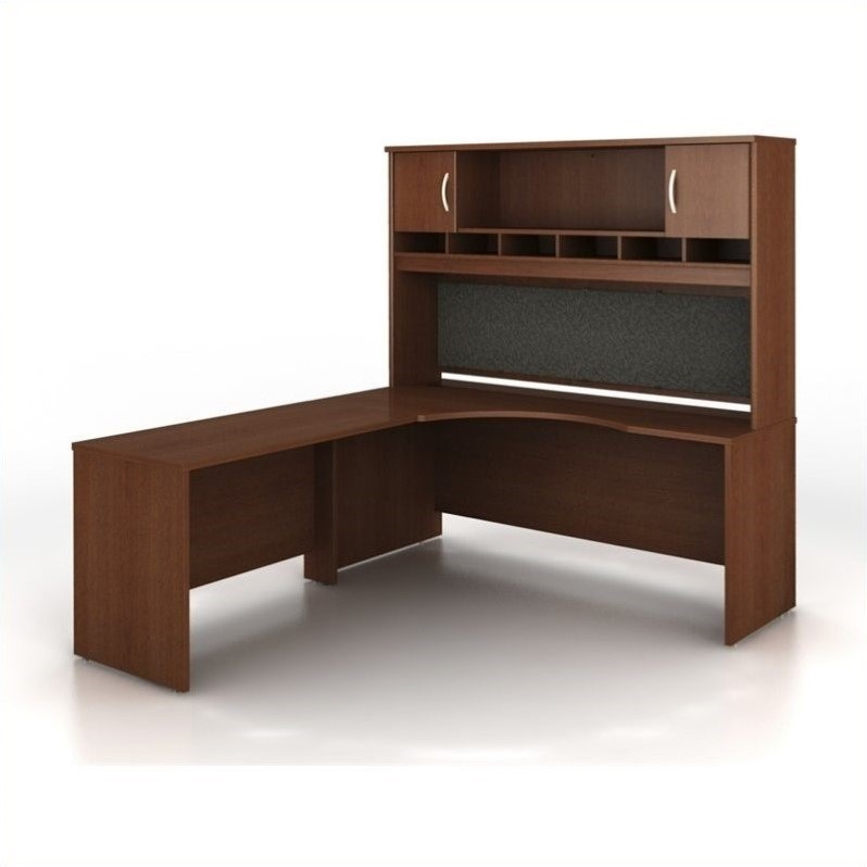 Bush BBF Series C 3-Piece Left-Hand L-Shaped Computer Desk in Mahogany