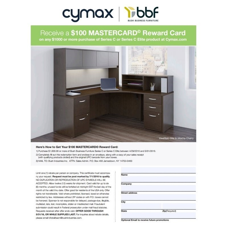 Bush BBF Series C Bow Front Desk with Corner Module in Light Oak
