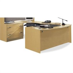 Bush Business Series C Bow Front Desk with Corner Module in Light Oak