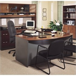 Bush BBF Series C 4-Piece U-Shape Bow-Front Desk Set in Hansen Cherry