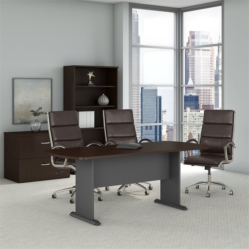 Bush Business Furniture Series A-C 79W x 34D Racetrack Oval Conference Table in Mocha Cherry