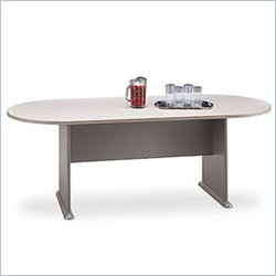 Bush BBF Racetrack 6.9 Conference Table with Slab Base in Gray and Taupe